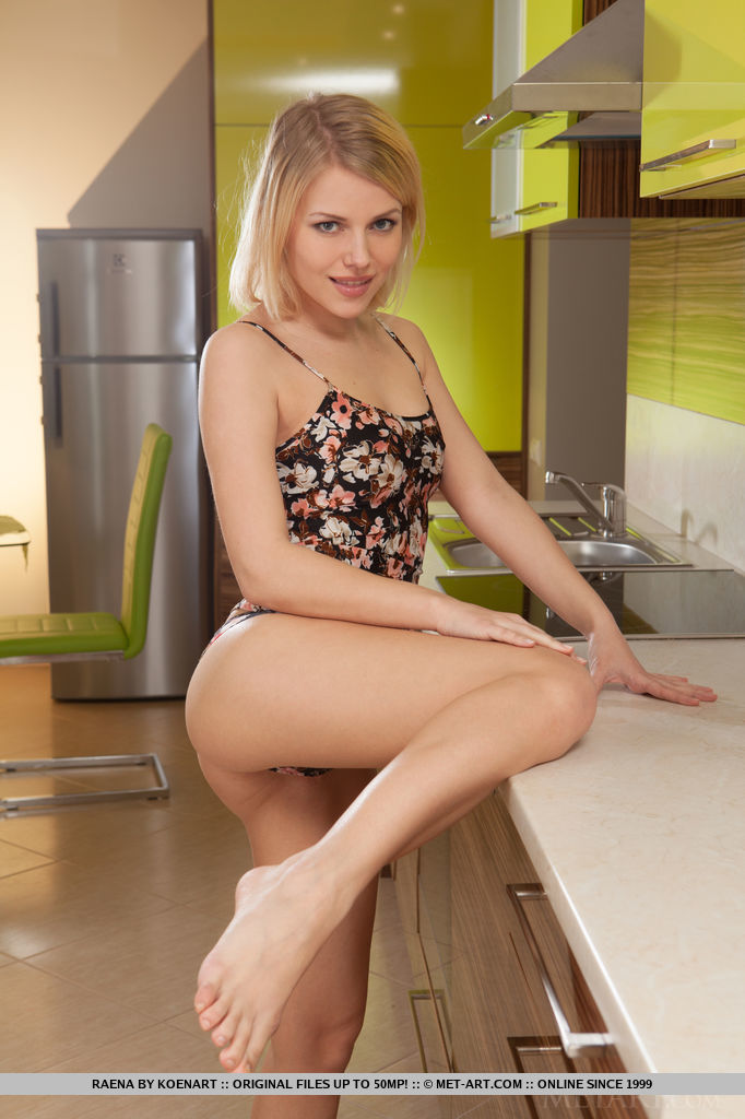 Cute Blonde Babe Raena Naked in the Kitchen