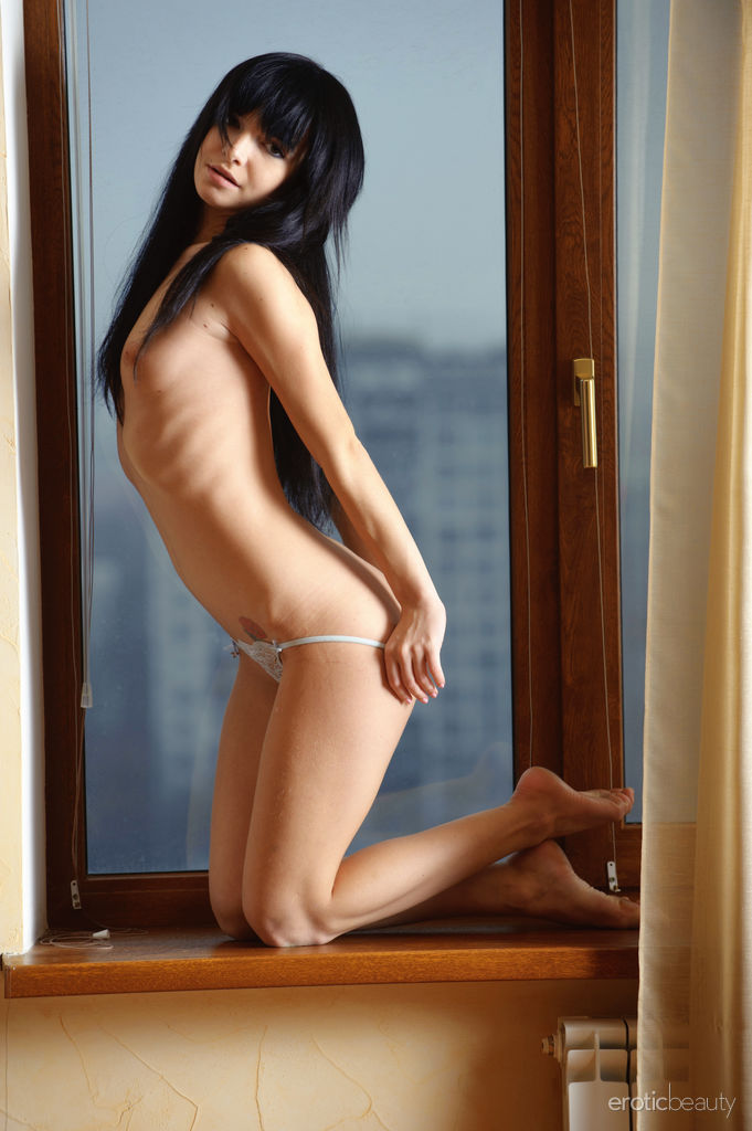 Cute Brunette Svajone in Curtain