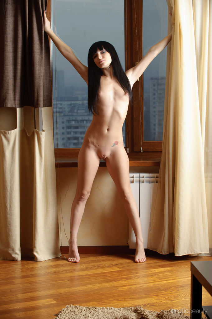 Cute Nude Brunette Svajone in Curtain